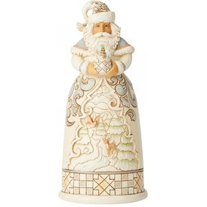 Heartwood Creek White Woodland Santa Figurine - Santa with Deer Snow Globe