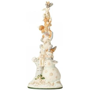 Heartwood Creek White Woodland Figurine - Snowman with Stacked Animals