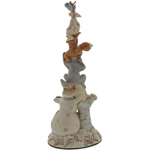 Heartwood Creek Rise Up This Winter White Woodland Snowman Stacked with Animals Jim Shore Figurine