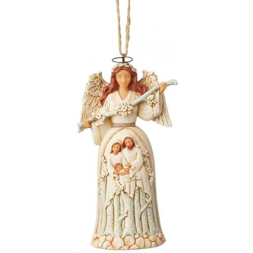 Heartwood Creek White Woodland Nativity Angel Hanging Ornament 6004176 by Jim Shore