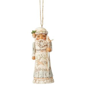 Heartwood Creek White Woodland Nutcracker Hanging Ornament - Santa