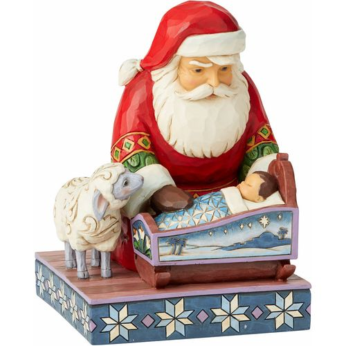Heartwood Creek Even Kings Need Tucking In Figurine Santa with Baby Jesus 6004132