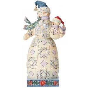 Heartwood Creek Snowman Figurine - Bundled in Love (Snowman with Snowbaby)