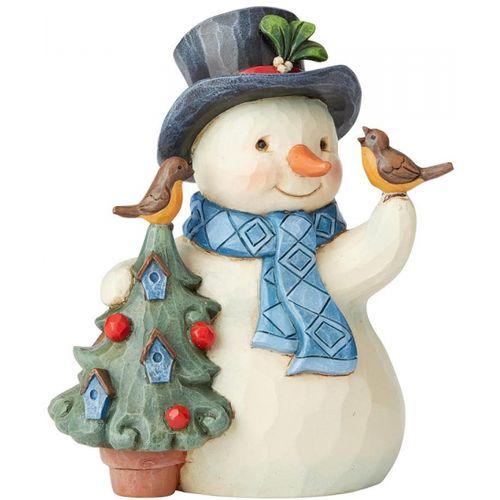 Heartwood Creek Heartfelt Holidays Figurine Snowman with Tree & Birdhouse