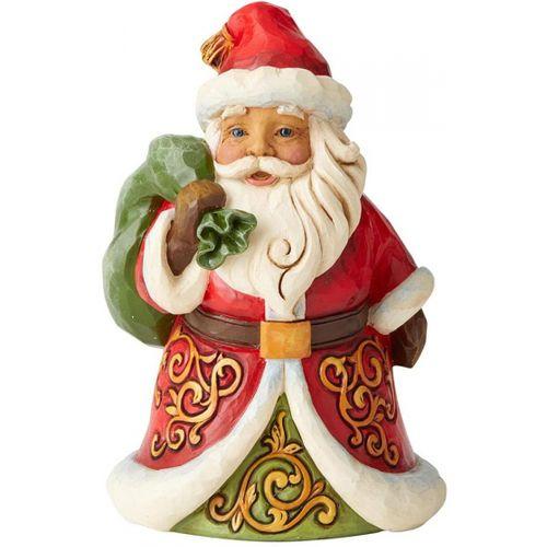 Heartwood Creek Santa Figurine Be True & Believe Pint Sized Santa with Bag Over Shoulder 6004291