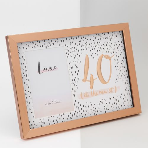 """Luxe Rose Gold Birthday Photo Frame 4"""" x 6"""" - 40"""