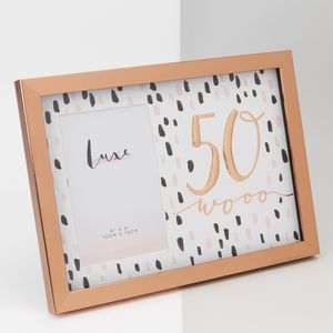 """Hotchpotch Luxe Rose Gold Birthday Photo Frame 4"""" x 6"""" - 50 (Female)"""