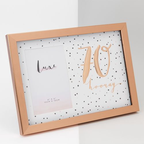 """Luxe Rose Gold Birthday Photo Frame 4"""" x 6"""" - 70"""