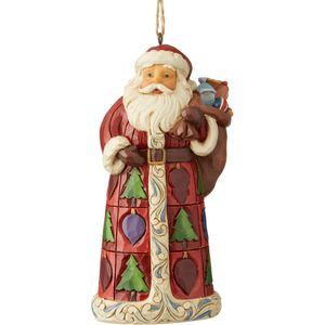 Heartwood Creek Hanging Ornament Santa with Toy Bag