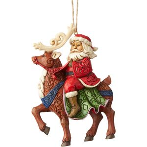 Heartwood Creek Hanging Ornament Santa Riding Reindeer