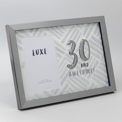 """Luxe Male Birthday Gunmetal Photo Frame 4"""" x 6"""" - 30 and Awesome!"""