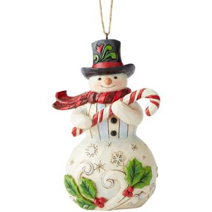 Heartwood Creek Hanging Ornament - Snowman with Candy Cane