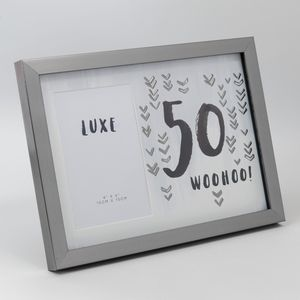 "Luxe Male Birthday Gunmetal Photo Frame 4"" x 6"" - 50 Woohoo"