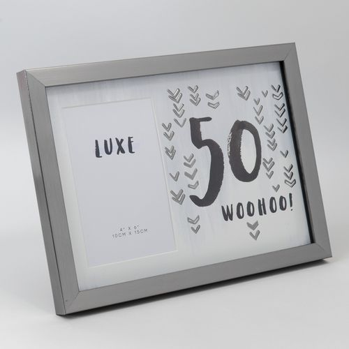 "Luxe Birthday Male Gun Metal Birthday Photo Frame 4"" x 6"" -  50 Woohoo!"