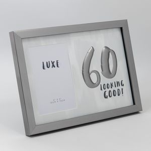 "Luxe Male Birthday Gunmetal Photo Frame 4"" x 6"" - 60 Looking Good"