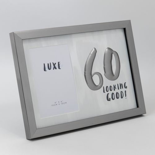 "Luxe Male Birthday Gunmetal Frame 4"" x 6"" - 60 Looking Good!"