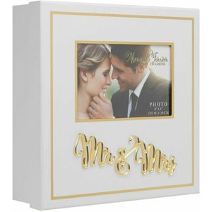 Juliana Always & Forever White & Gold Wedding Keepsake Box - Mr & Mrs