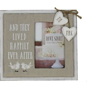 "Love Story Wooden Photo Frame 4"" x 6"" - Happily Ever After"