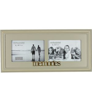 "Wooden Double Photo Frame 6"" x 4"" - Memories"