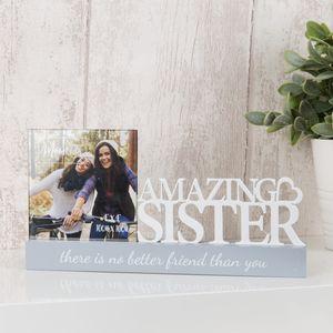 "Celebrations Sentiment Word Block Photo Frame 4x4"" - Amazing Sister"