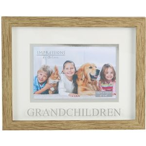 "Natural Wood Effect Photo Frame 6x4"" - Grandchildren"