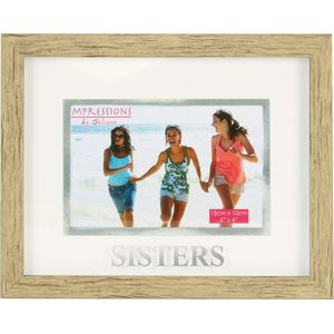 """Natural Wood Effect Photo Frame 6x4"""" - Sisters"""