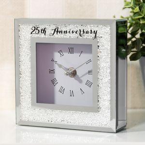 Crystal Border Mantel Clock - 25th Anniversary
