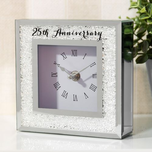 Celebrations Crystal Border Mantel Clock - 25th Anniversary Silver Wedding