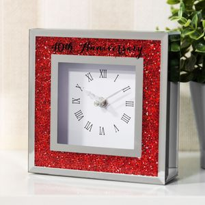 Crystal Border Mantel Clock - 40th Anniversary