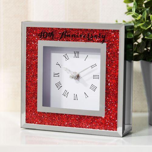Celebrations Crystal Border Mantel Clock - 40th Anniversary Ruby Wedding