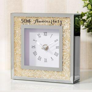 Celebrations Crystal Border Mantel Clock - 50th Anniversary