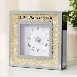 Crystal Border Mantel Clock - 50th Anniversary