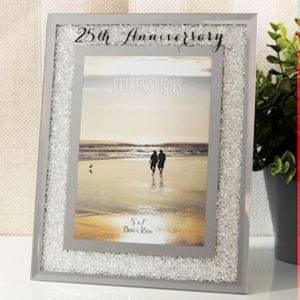 "Celebrations Crystal Border Photo Frame 5x7"" - 25th Anniversary"