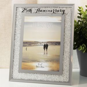 "Crystal Border Photo Frame 5"" x 7"" - 25th Anniversary"