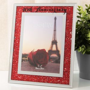 "Crystal Border Frame 5"" x 7"" - 40th Anniversary"