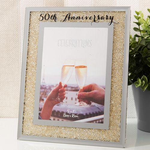 "Celebrations Crystal Border Frame 5"" x 7"" - 50th Anniversary Golden Wedding"