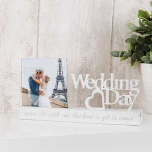 "Celebrations Sentiment Word Block Photo Frame 4x4"" - Wedding Day"