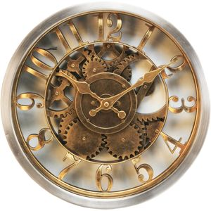 Hometime Wall Clock Gold Case Skeleton Dial
