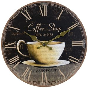 "Hometime Round Wall Clock ""Coffee Shop"""