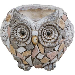 Country Living Mosaic Polystone Planter - Owl