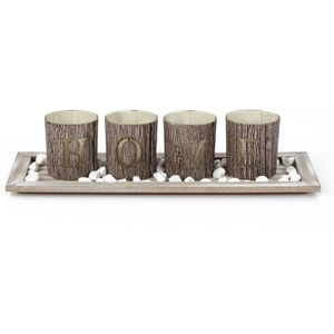 Home Living Tea Light Candle Holder & Tray Set- H O M E