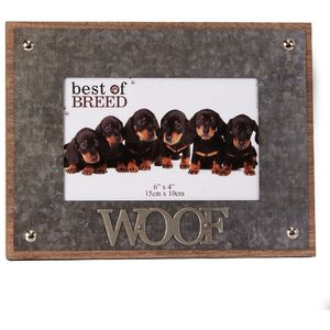 """Photo Frame Metal Lettering 'WOOF' 6x4"""""""