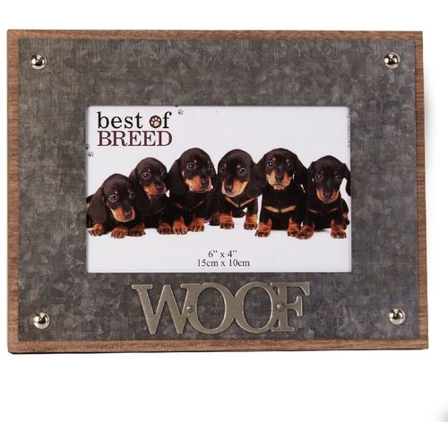 """Best of Breed Photo Frame with Metal Lettering 6"""" x 4"""" - Dog """"WOOF"""""""