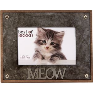 "Best of Breed Photo Frame with Metal Lettering 6x4"" - Cat ""MEOW"""
