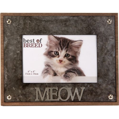 """Best of Breed Photo Frame with Metal Lettering 6"""" x 4"""" - Cat """"MEOW"""""""
