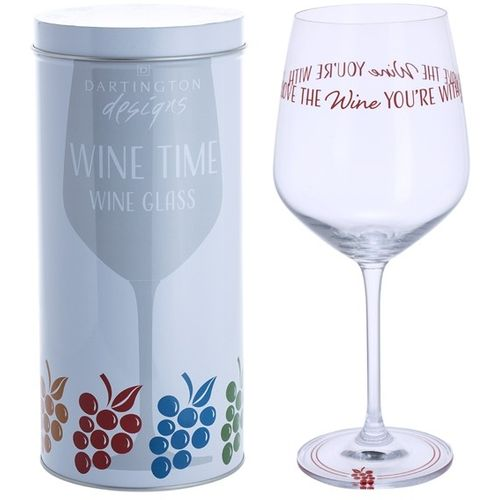 Dartington Crystal Wine Glass: Wine Time Collection - Love The Wine You`re With