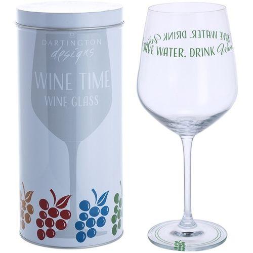 Dartington Wine Glass: Wine Time Collection - Save Water Drink Wine