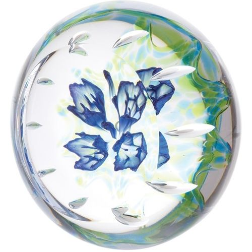 Caithness Crystal Paperweight Floral Gentian Blue