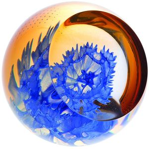 Caithness Glass Paperweight: Floral Charms - Cornflower