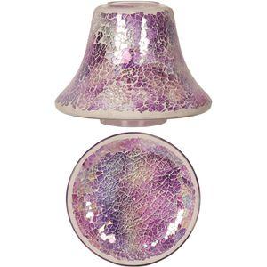 Aroma Jar Candle Shade & Plate Set: Purple Crackle